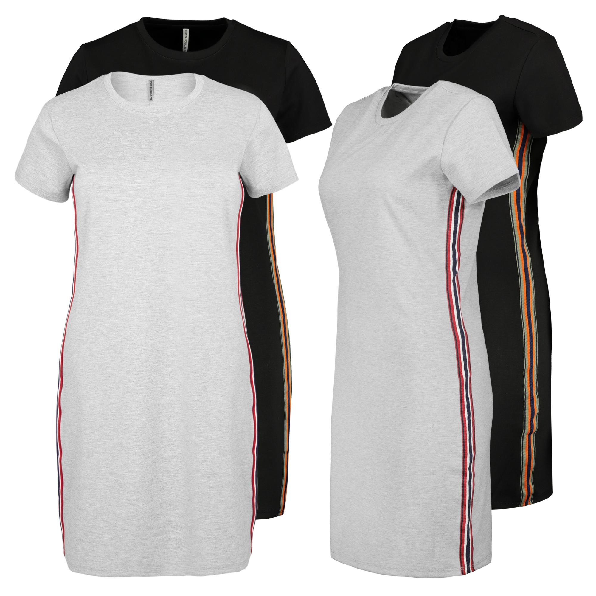 Details zu STITCH & SOUL Damen Jersey Kleid mit Seiten Streifen sportliches T Shirt Kleid