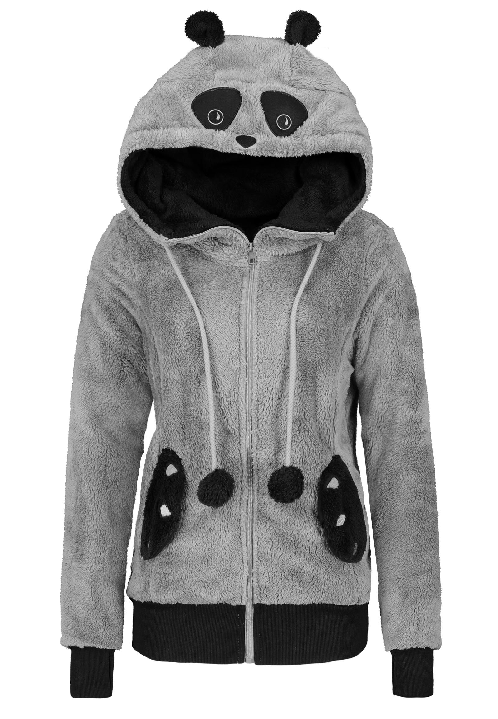 Teddy Fleecejacke Panda Damen Sublevel Damen Motiv Kapuze mit Ohren und Augen