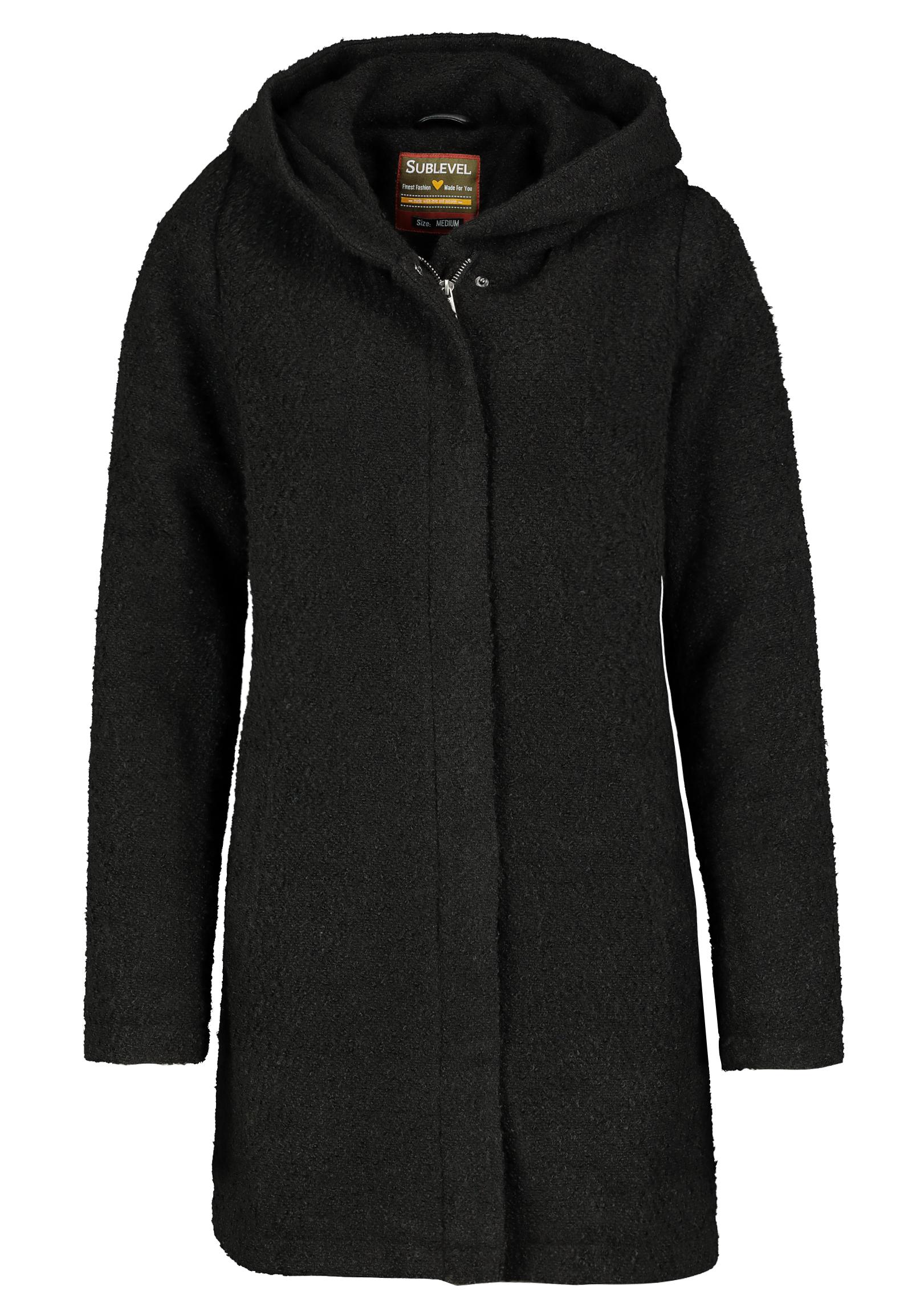 sublevel damen wollmix mantel mit kapuze warmer wintermantel im melange look ebay. Black Bedroom Furniture Sets. Home Design Ideas