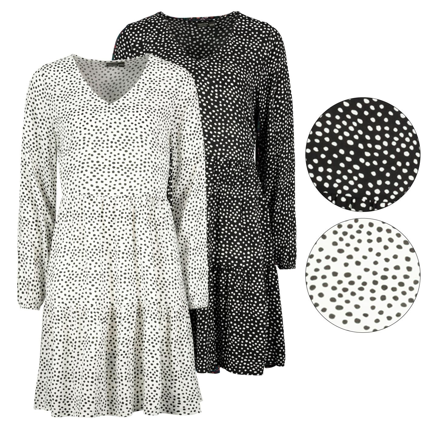 details zu damen kleid gepunktet langarm hängerchen polka dots punkte  volants schwarz weiß